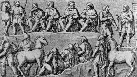Germanic thing, drawn after the depiction in a relief of the Column of Marcus Aurelius (AD 193)