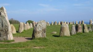 Ale's Stones, a megalithic monument in southern Sweden, resembles a stone ship built of 59 large sandstone boulders, weighing up to 1.8 tons each.