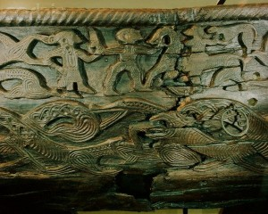 ca. 850 A.D. --- Oseberg Cart Carving --- Image by © Werner Forman/CORBIS