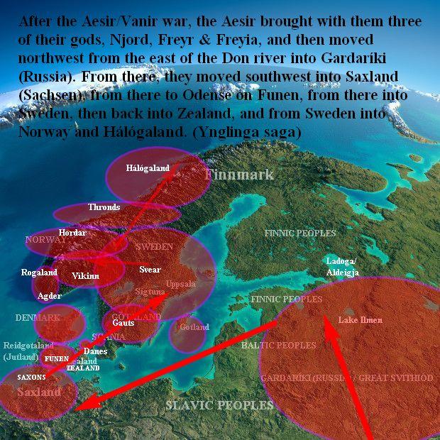 Aesir spread in Scandinavia Ynglinga saga