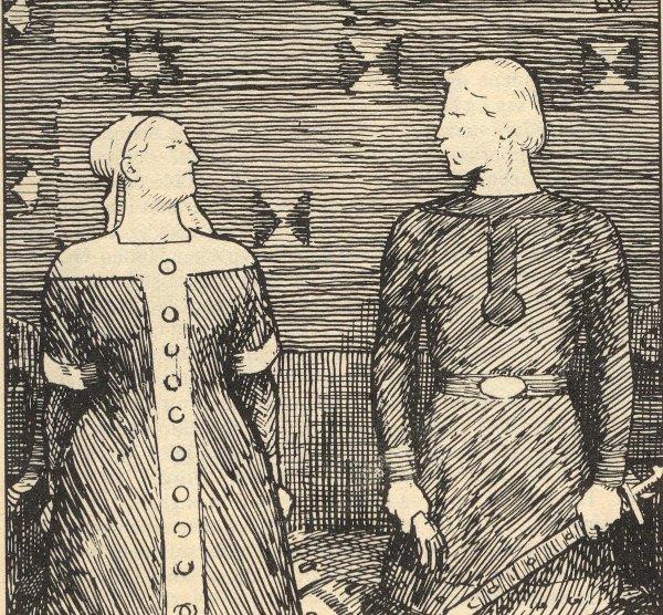 Erik Werenskiold Heimkringla illustration, Sigrid and Olaf Tryggvason